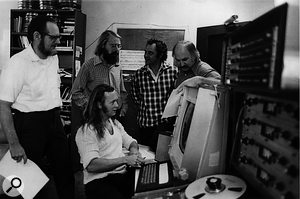 The founders of Stanford University's Center for Computer Research & Musical Acoustics. From left: Leland Smith, John Grey (standing), James Moorer (sitting), John Chowning, Loren Rush. This photo was taken in 1975, the year after the Center's foundation.