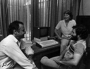 John Chowning (left) with Patte Wood and Jonathan Berger, 1984.