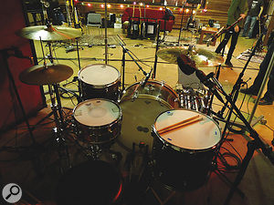 Matt Helders' Ludwig kit, showing one of James Ford's miking setups.
