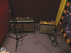 Alex Turner's guitar usually went through an old Selmer Zodiac (left) and Magnatone Custom 410 (right) amplifiers. Here, both are miked with Shure SM7s.