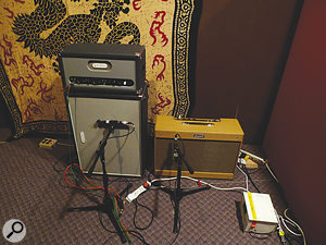 For the majority of the tracks on the album, Jamie Cook played through an Audio Kitchen Big Chopper (left, miked with aJosephson e22) and Rosewell Bluesman.