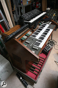 Multiple Eminent 310 string machines were central to the <em>Oxygene</em> string sound. Here, a  Moog Liberation monosynth is also ready to go.