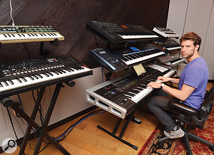 The classically trained JR Rotem still prefers hardware synths, and his studio includes anumber of modern and vintage instruments: (left) Korg Microkorg and MS2000; (centre) Yamaha Motif XF6, Korg Triton Extreme and Korg Oasys; (rear) Roland Gaia SH01, Roland Juno 60 and Korg Radias.