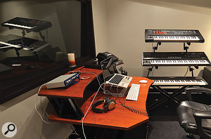As well as alaptop-based recording rig, this separate writing room contains more hardware synths, including aRoland SH201 and Roland V-Synth GT, and an M-Audio Axiom 61 controller keyboard.