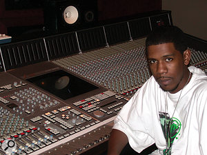 Gimel Keaton, aka Young Guru, at the SSL desk in Roc The Mic Studios.