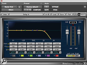 Young Guru used Waves' Renaissance EQ to filter outhiss at the top end of asampled kick, while thesame plug‑in was employed to brighten up aTR808 kick drum (below).