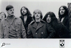 The way they were: a rare Harvest promotional postcard showing the original line-up of Janus.