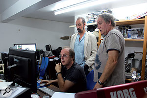 Original Janus members Colin Orr, Bruno Lord and Keith Bonthrone in Colin's studio for the mastering of Gravedigger remixes.