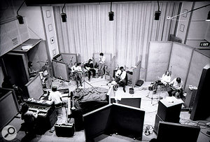 In 1971, blues guitarist BB King travelled to the UK to record his In London album with a selection of British rock royalty, and photographer Keith Morris was invited to Olympic Studios in Barnes to document the sessions. This previously unpublished photo shows the Studio One live room in full. As well as King himself (centre right), the musicians visible include Ringo Starr (far left) plus bassist Klaus Voormann, Fleetwood Mac's Peter Green on guitar and Steve Marriott on harmonica (all centre left).