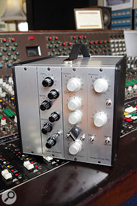 Three Olympic '65 modules. From left: an original EQ module from the 'reduction studio' (later Studio Three), an input module from the Studio One desk at Olympic Barnes, originally installed in 1966, and a new recreation of the same mic amp, complete with germanium transistors and a balanced output stage to interface with modern-day equipment.