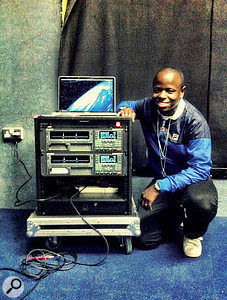 Kojo's preferred means of providing backing tracks to afront-of-house engineer is via two synchronised Alesis HD24s, with one serving as abackup.
