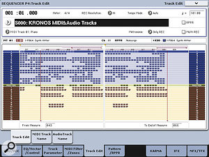 Unlike most workstation sequencers, the Kronos's Track Data Map can show the status of all 16 MIDI tracks, all 16 audio tracks and the Master track simultaneously.