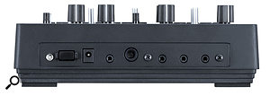 The Monotribe's rear panel features apower button, an input for an optional 9V power supply, a3.5mm audio input, aquarter‑inch audio output, aheadphone socket and sync in and out ports, these last three again with 3.5mm connections.