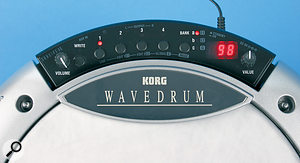 The Wavedrum eschews external software editing and can only be controlled by the two knobs and six buttons shown here.
