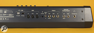 On the PC3LE7's rear panel are a pair of USB ports for connection and storage, MIDI In, Out & Thru sockets, a contrast control knob, inputs for three types of pedal, a pair of stereo outputs and a headphone port, these latter on quarter‑inch jack sockets.