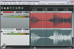 In this screenshot, you can see how to solo the Sides component of astereo signal by inverting the left channel of astereo file and mixing it with the right channel. As amore elegant freeware plug‑in solution, however, Brainworx's Bx_solo comes highly recommended.