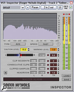 Clip counters can be useful when assessing the loudness processing of commercial masters — RN Digital's classic freeware Inspector plug‑in is great for this, as it has not only has arolling counter for the total number of clipped samples, but also keeps atally of the largest number of consecutive clipped samples.