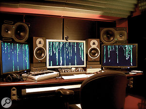 Two MacPros are at the heart of John's studio, connected to three large displays. There's plenty of reference monitoring too, all controlled by a Mackie Big Knob.