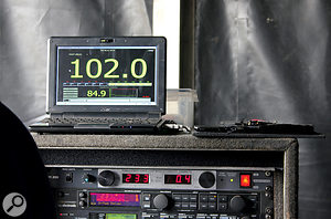 Here's a display of the decibel levels being pumped out during a soundcheck for the Prodigy. Most festivals and outdoor events have strict regulations about off-site noise, measuring average noise levels during certain time windows.