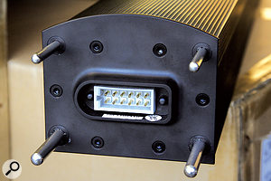 The mounting poles for the lower portion of the line array guide all the necessary connections into place. It's actually impossible to fit the array incorrectly due to the differing width of the poles.
