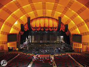 The Radio City Music Hall just before soundcheck. Here you can see the substantial line arrays that make-up part of the PA setup.