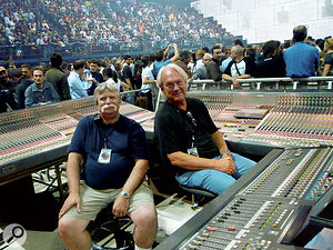 Trip Khalif is pictured (right) with system technician Bob Weibel (left). The Yamaha PM5D in front of trip is not the main mix console; he prefers the sound of analogue Midas consoles, also pictured.