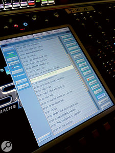 The Digico SD7 console is used to handle monitor mixing for the show. Note that the set-list has been programmed into the console.