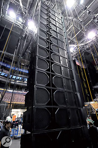 This line array is part of the Clair i5 PA system. Two versions were used on the tour, including an i5D prototype with improved low end.