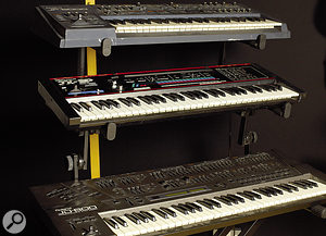 Labrinth can call on aselection of analogue and digital keyboards, including (left, from top) Roland JP8000, JX3P and JD800 and (right) Korg Microkorg, Clavia Nord Lead 2 and Korg Trinity.