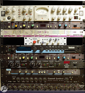 Most audio that is recorded at Labrinth's studio passes through either the Avalon VT737SP voice channel (top) or the Neve Portico 5032 (centre) and into the Apogee Rosetta converter. Other outboard includes two Roland SDE2000 delays, Lexicon PCM80 reverb, BBE 422A Sonic Maximizer, MXR Digital Time Delay, Control Synthesis Deep Bass Nine and Drawmer DS201 gate.