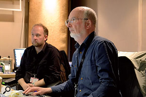 Mike Felton (right) and Tudor Davies in the post-production edit suite at ACE Post-Production.