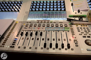 Mike Felton's desk layout is configured to give him a VCA fader for each act (right). The five subgroup faders to the left control, respectively, Rhythm, Front Line, Backing vocals, Main vocals and Effects.