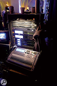Because the space is large and the audience scattered, variable delays are needed on each group of PA speakers.