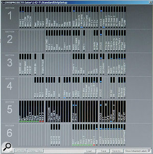 This screenshot from the Vista console shows the configuration and labelling of the six fader layers. Layer 1 (top) presents Beady Eye's sources and layer 2 OMD's; layer 3 hosts Deap Vally's sources and the effects returns, layer 4 is devoted to Miguel Jontel Pimentel's sources, while KT Tunstall, George the Poet and Jools Holland's piano appear on layer 5. The last layer contains the audience mics.