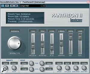 A big bonus feature of Lexicon's FW810S is its bundled Pantheon II AU/VST‑format reverb plug‑in, which sounds very nice indeed despite snacking only comparatively lightly on CPU cycles.
