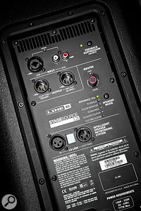 The StageSource L2T has six different speaker modes, selected by pushing the button on the right-hand side of the rear panel.
