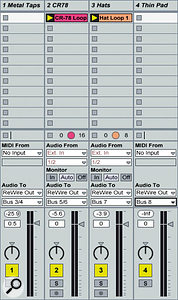 Here, all the tracks in Ableton Live are being routed to individual Rewire busses.
