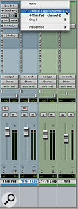 MIDI tracks in Live appear as MIDI destinations in Pro Tools' instrument tracks.