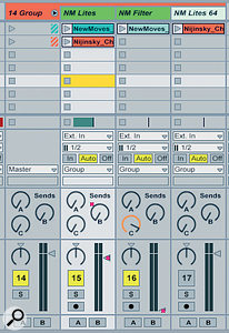 Three tracks in a group, with a common submix.