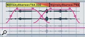 Crossfading between two clips in the Arrangement.