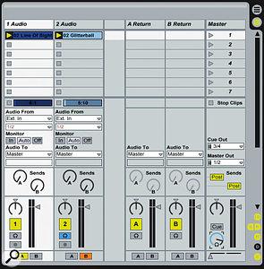 This session emulates a classic 'two decks and DJ mixer' arrangement.
