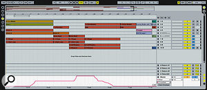 Crossfader moves can be recorded as automation, as you can see from the graph at the bottom of this screen.