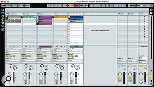 Three of the tracks in this Session use various Follow Actions to add movement and variety to an otherwise repetitive loop.