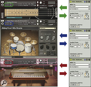 Three Live External Instrument plug‑ins send MIDI to and receive audio from different instruments in a Kontakt Multi‑instrument. The Kontakt plug‑in holding the Multi is on a separate Live track named 'Kontakt'.
