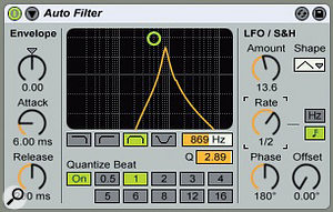 1: In this setup, a triangle-wave LFO modulates the band-pass filter frequency with a half-note cycle. The 180 degrees Phase knob setting makes the filter bands move in opposite directions in the left and right channels. The Quantise Beat setting makes the bands jump at 16th-note intervals rather than moving smoothly.
