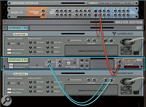 1: In this Reason rack, the stereo audio output (Direct Out) from Combinator 2's Mix Channel, renamed 'Combinator 2 Out', is cabled directly to Audio I/O outputs 3 and 4. Combinators, such as Combinator 1 here, that are not directly cabled will have their outputs mixed in Reason, with the mix being sent to the main output — Audio I/O outputs 1 and 2. You can use Live External Instrument devices to send MIDI data separately to any such Combinators, but all except one of the External Instruments should have their 'Audio From' set to 'None', to avoid duplication.
