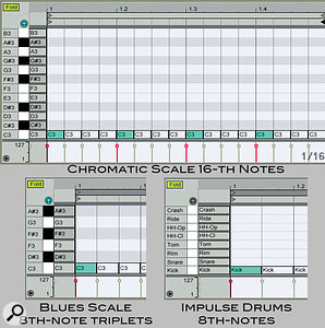 1: The top MIDI clip serves as atemplate for aone-bar, 16th-note, chromatic-scale step sequence. The notes on the left are guide notes for the clip Fold operation. To program your step sequence, select anote, activate it if it is deactivated (grey) and move it with the up and down Arrow keys. Use the Shift key to move notes by octaves. The clips at the bottom illustrate different grids and scales.
