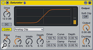 A flabby kick-drum is processed with Saturator to add some harmonics in the upper frequencies and round out the low‑mids for extra punch.