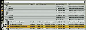 1: Live's Browser, as displayed here, shows all available columns. You can hide or show columns by right-clicking and rearrange them by dragging. (Iprefer to show only the Name column and reveal others as the need arises.) Clicking on acolumn header sorts by that column. The white banner at the top doubles as adrop-down menu to browse other locations. The icons along the left let you hide the Browser as well as view Live device presets, third-party plug-ins, three user-defined file locations and the Hot-swap Browser.