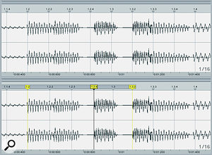 Warping in older versions (left) and Live 8 (right). It's now the waveform that moves, not the timeline.